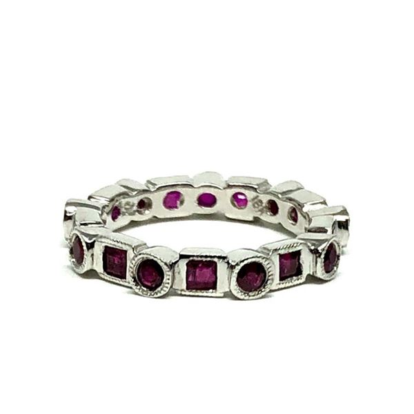 1.35 ctw Square Step Rubies Ring - 18KT White Gold