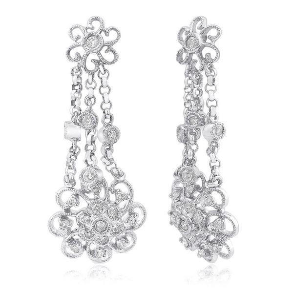 14k White Gold 0.39CTW Diamond Earrings, (I1-I2/H-I)
