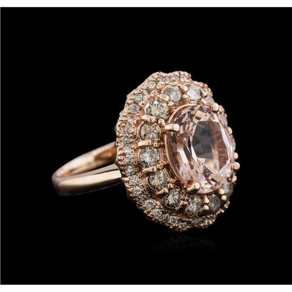 14KT Rose Gold 3.13 ctw Morganite and Diamond Ring