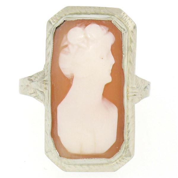 Antique 14kt White Gold Bezel Set Rectangular Carved Shell Cameo Ring