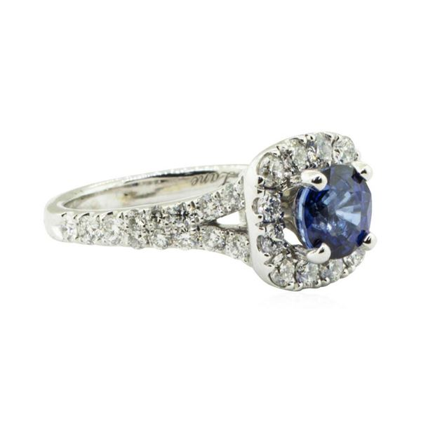 2.47 ctw Round Brilliant Blue Sapphire And Diamond Ring - 14KT White Gold