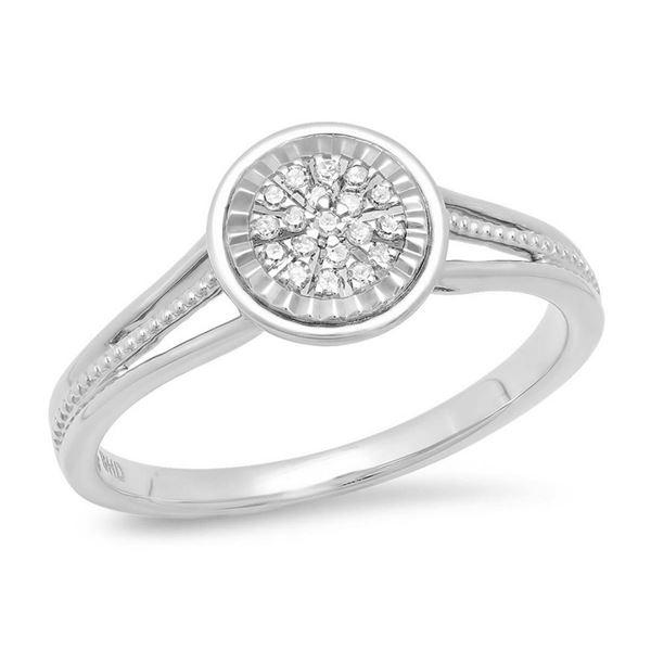 14K White Gold 0.08CTW Diamond Ring, (I1-I2/G-H)