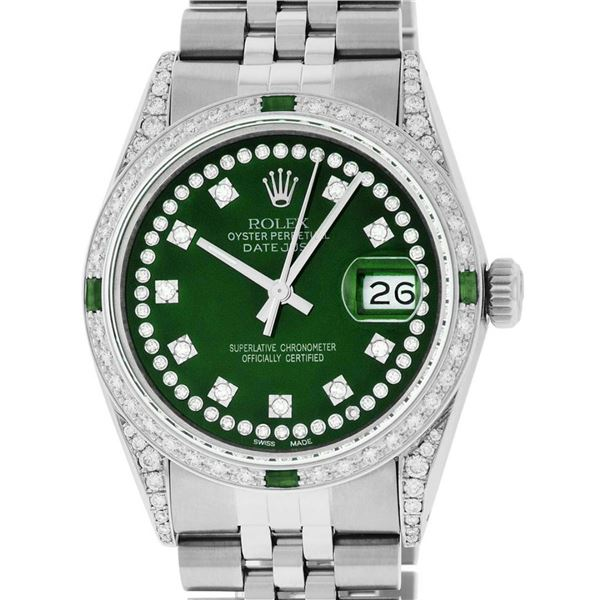 Rolex Mens Stainless Steel Green Diamond Lugs & Emerald Datejust Wristwatch