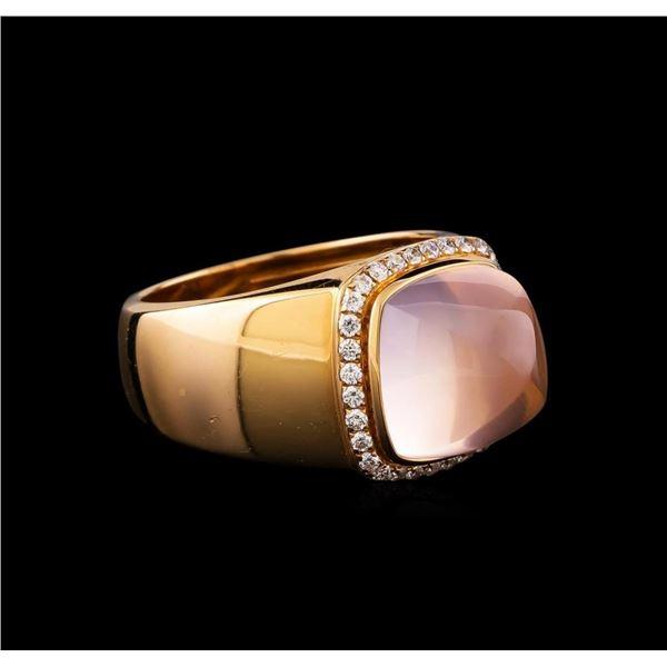 Fred of Paris Pain De Sucre Rose Quartz and Diamond Ring - 18KT Pink Gold
