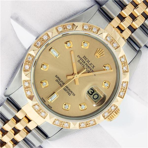 Rolex Mens 2 Tone Champagne Diamond Pyramid Bezel Datejust Wristwatch With Rolex