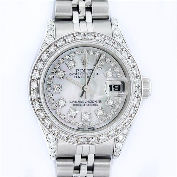 Rolex Ladies SS Quickset Mother Of Pearl Diamond Lugs Jubilee Oyster Perpetual D