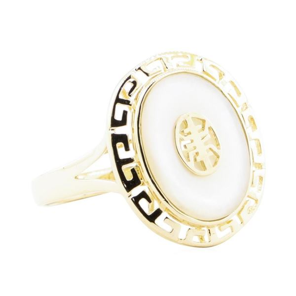 Inlaid Mother of Pearl Ring - 14KT Yellow Gold