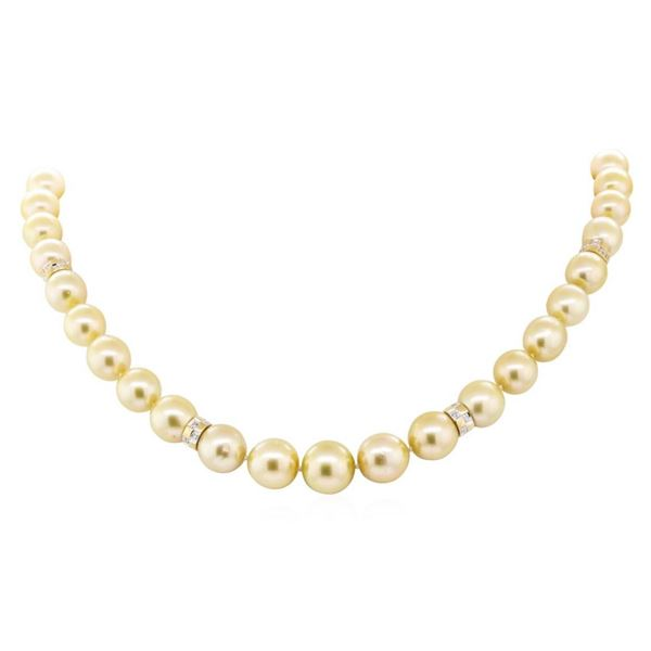 0.80 ctw Diamond and South Sea Pearl Necklace - 14KT Yellow Gold