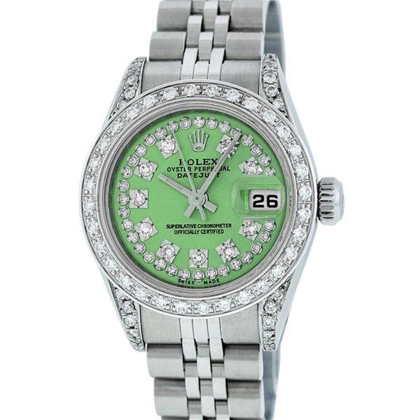 Rolex Ladies Stainless Steel Quickset Green Diamond Lugs Jubilee Datejust Wristw