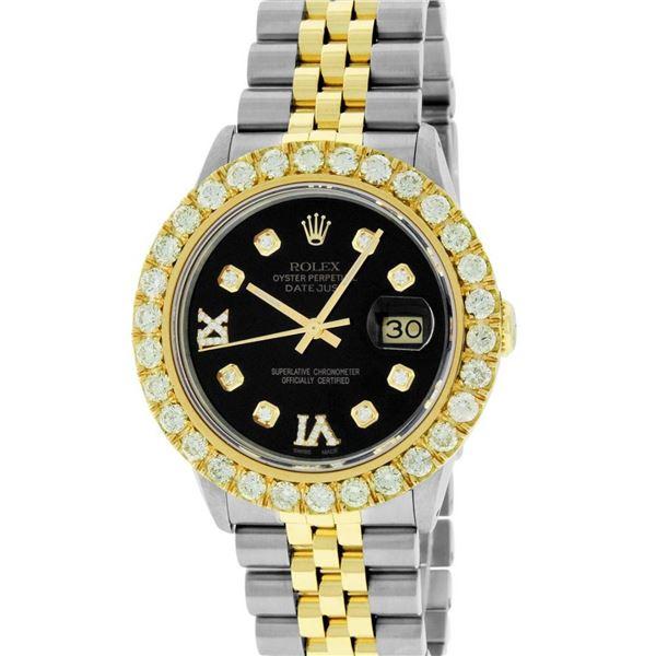 Rolex Mens 2 Tone Black VS 4 ctw Beadset Diamond Datejust Wristwatch with Rolex