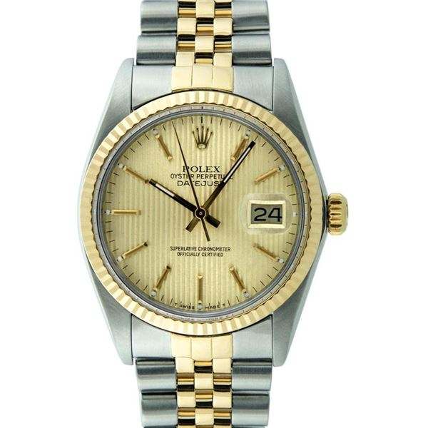 Rolex Mens 2T Champagne Tapestry Index 36MM Oyster Perpetual Datejust