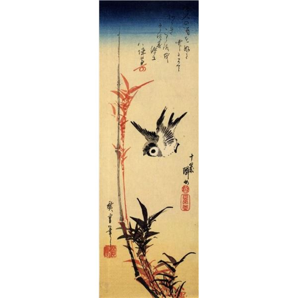 Hiroshige Sparrow and Bamboo