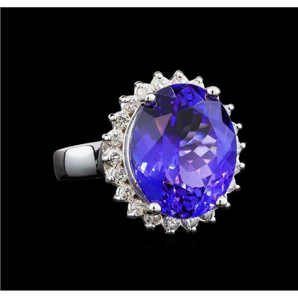 GIA Cert 10.17 ctw Tanzanite and Diamond Ring - 14KT White Gold