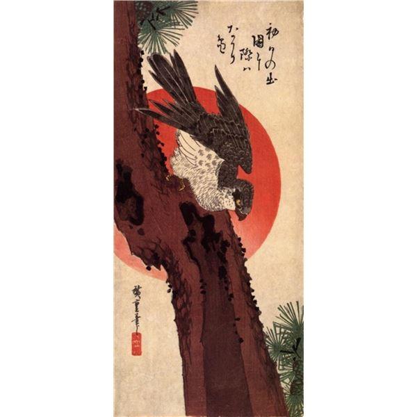 Hiroshige Falcon on Pine with Rising Sun