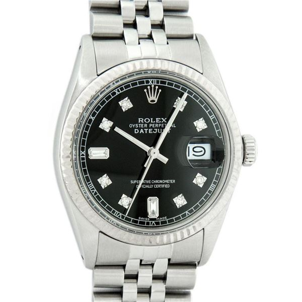 Rolex Mens Stainless Black Diamond 36MM Datejust Wristwatch Oyster Perpetual