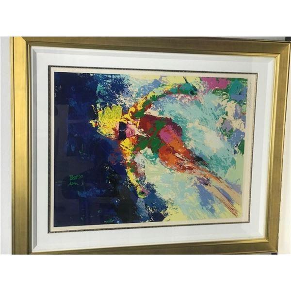 Lady Skier by LeRoy Neiman (1921-2012)