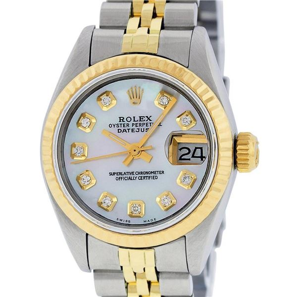 Rolex Ladies 2 Tone MOP Diamond 26MM Datejust Wristwatch