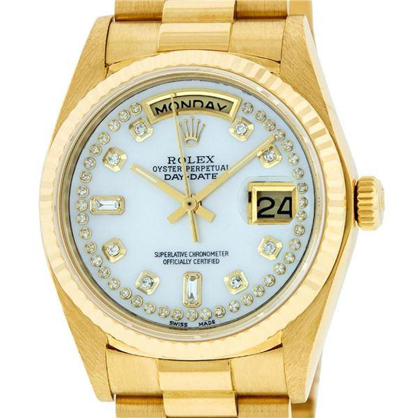 Rolex Mens 18K Yellow Gold Mother Of Pearl Diamond Quickset President Wristwatch