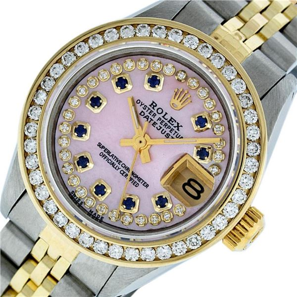 Rolex Ladies 2 Tone Pink MOP Sapphire String Diamond Datejust Wristwatch