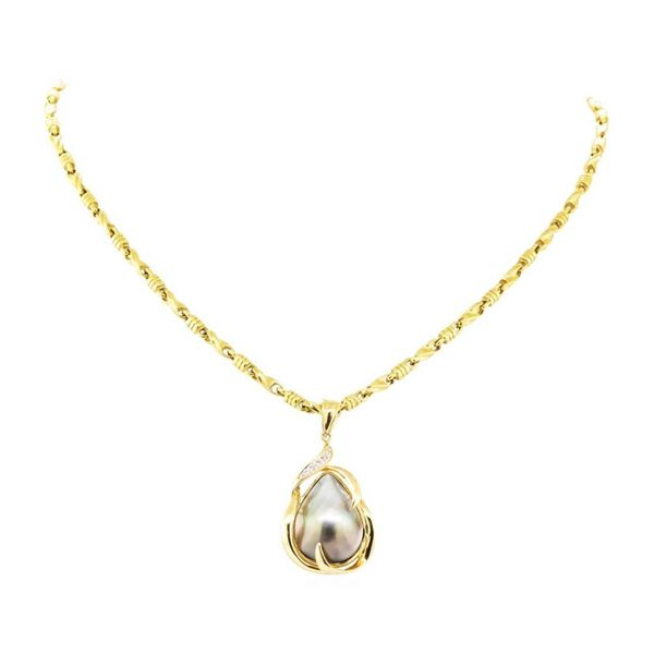 0.04 ctw Diamond and Pearl Pendant & Chain - 14KT Yellow Gold