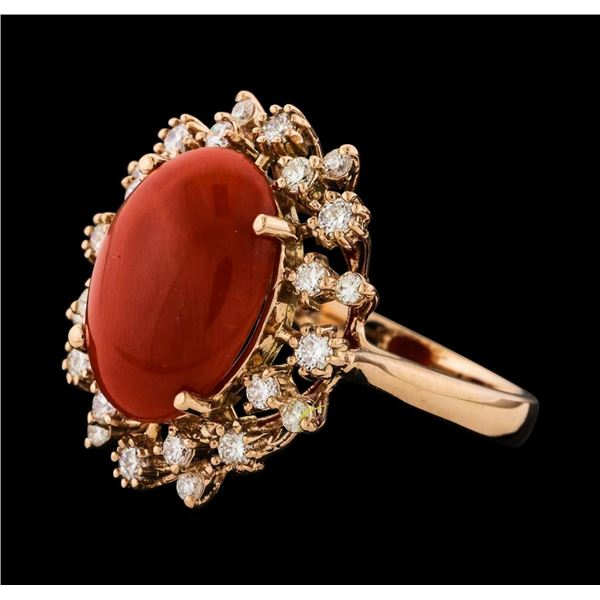 5.07 ctw Coral and Diamond Ring - 14KT Rose Gold