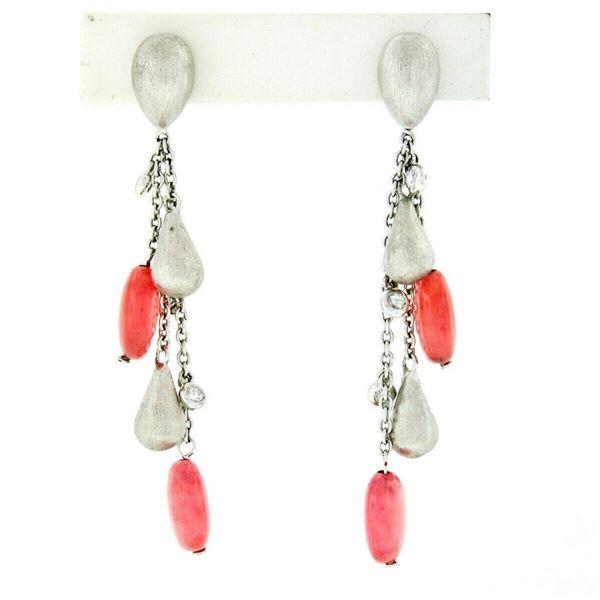 18kt White Gold Rose Quartz Bead & Diamond Teardrop Tassel Dangle Earrings