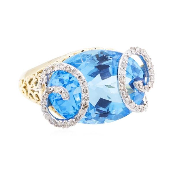 20.85 ctw Blue Topaz And Diamond Ring - 14KT Yellow Gold