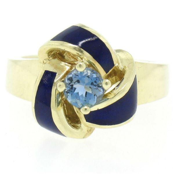 Vintage 14K Yellow Gold FINE Aquamarine & Blue Enamel Trinity Knot Cocktail Ring