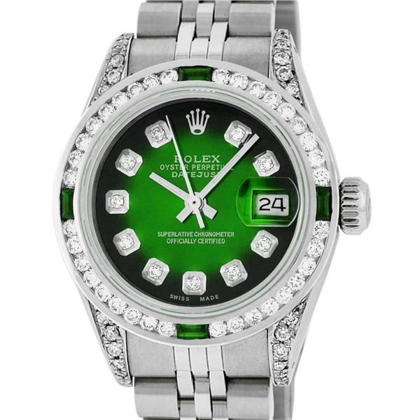 Rolex Ladies SSS Green Vignette Diamond Lugs & Emerald Datejust Wristwatch