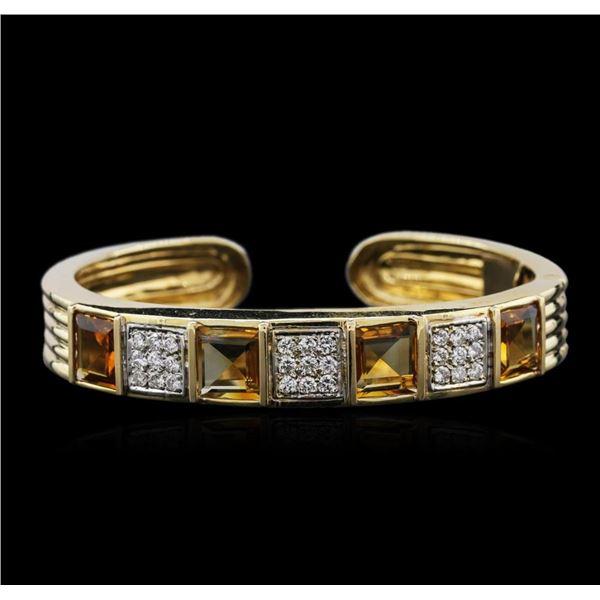 14KT Yellow Gold 10.16 ctw Citrine and Diamond Bracelet