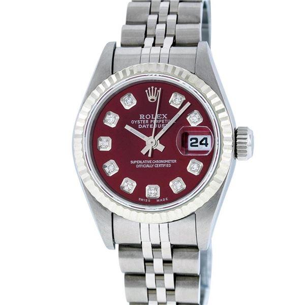 Rolex Ladies Stainless Steel Red Diamond Quickset Datejust Wristwatch 26MM