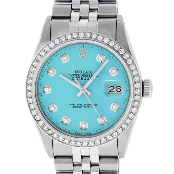Rolex Mens Stainless Steel Blue Diamond 36MM Oyster Perpetaul Datejust