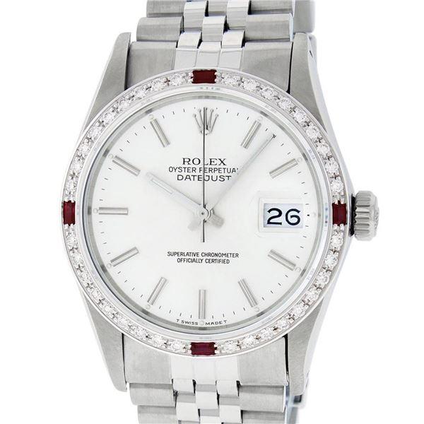 Rolex Mens Stainless Steel Silver Index Diamond & Ruby 36MM Datejust Wristwatch
