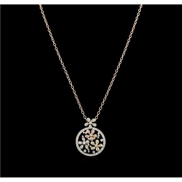 2.01 ctw Diamond Pendant With Chain - 14KT Tri Color Gold