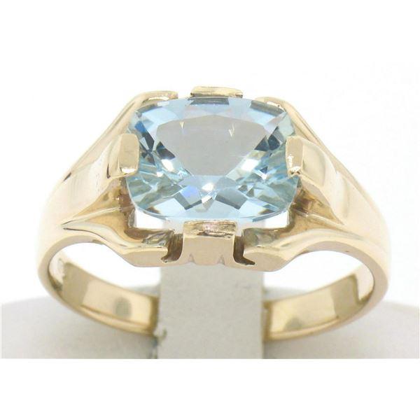 10k Gold Cushion Cut Horizontal Aquamarine Solitaire Ladies Ring