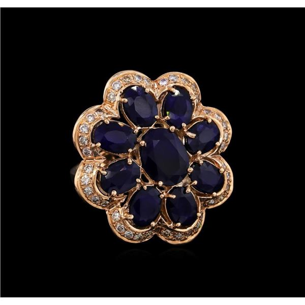 14KT Rose Gold 9.91 ctw Sapphire Ring