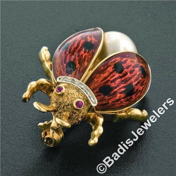Vintage 18kt Yellow Gold Ruby Diamond Pearl and Enamel Ladybug Pin Brooch