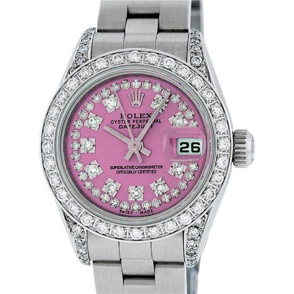 Rolex Ladies 26 Quickset Datejust Pink String Diamond Oyster Perpetual Datejust