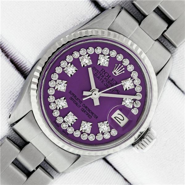 Rolex Ladies Datejust 26 Purple String VS Diamond Oyster Band Polished Serviced