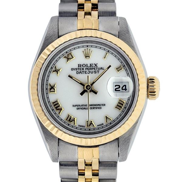 Rolex Ladies Quickset 2T 18K MOP Roman Datejust Oyster Perpetaul Wristwatch 26MM