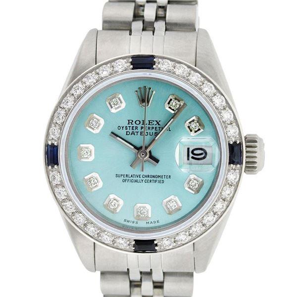Rolex Ladies Stainless Steel Ice Blue Diamond 26MM Oyster Perpetaul Datejust