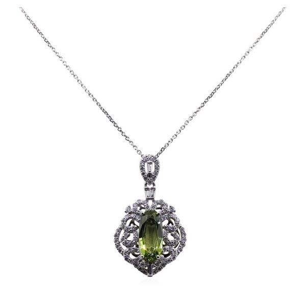 3.19 ctw Sapphire and Diamond Pendant With Chain - Platinum