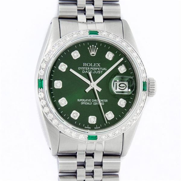 Rolex Mens Stainless Steel Green Vignette Diamond Oyster Perpetual Datejust Wris