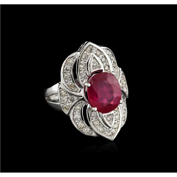 14KT White Gold 4.42 ctw Ruby and Diamond Ring