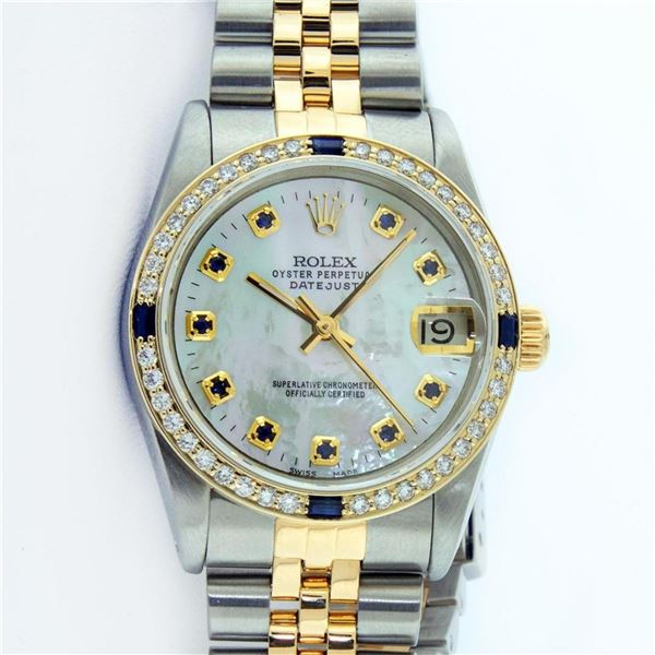 Rolex Mens 2 Tone Mother Of Pearl Sapphire Oyster Perpetual Datejust Wristwatch