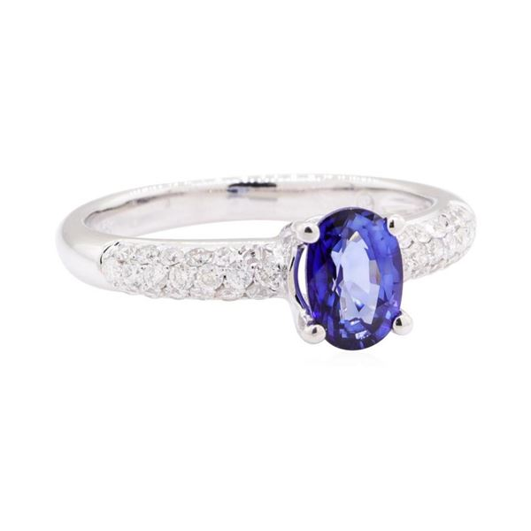 1.14 ctw Sapphire and Diamond Ring - 18KT White Gold