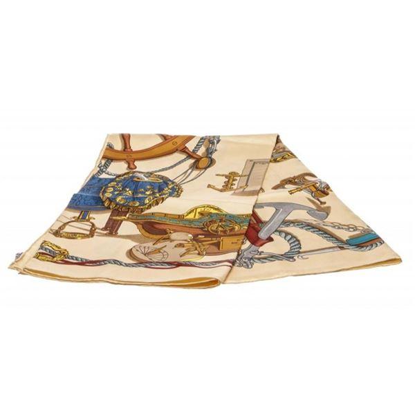 Hermes Beige Bateau A Vapeur De Jouffroy D'Abbans Silk Scarf