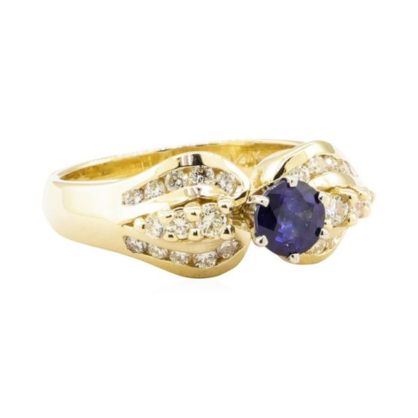 1.05 ctw Blue Sapphire And Diamond Ring - 14KT Yellow Gold