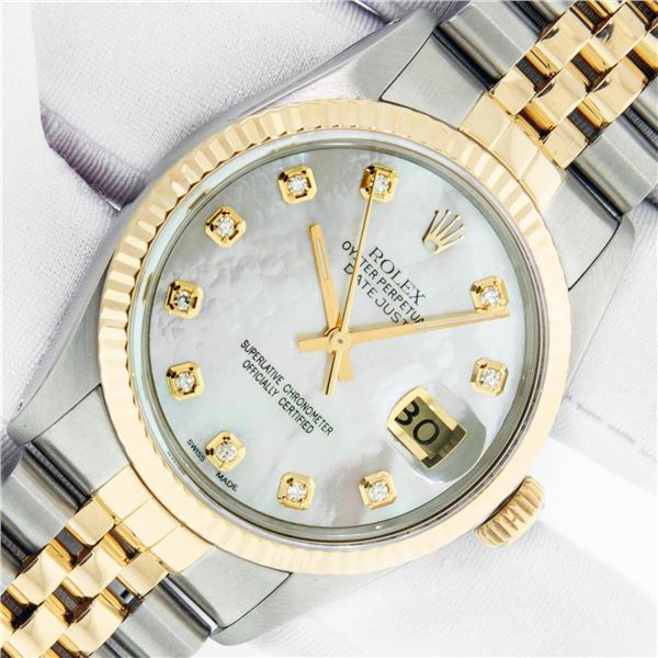 Rolex Mens 2 Tone Mother Of Pearl VS Diamond 36MM Datejust Wristwatch With Rolex