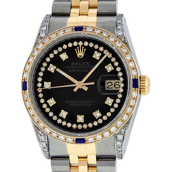 Rolex Mens 2 Tone Black Diamond String Lugs & Sapphire Datejust Wristwatch
